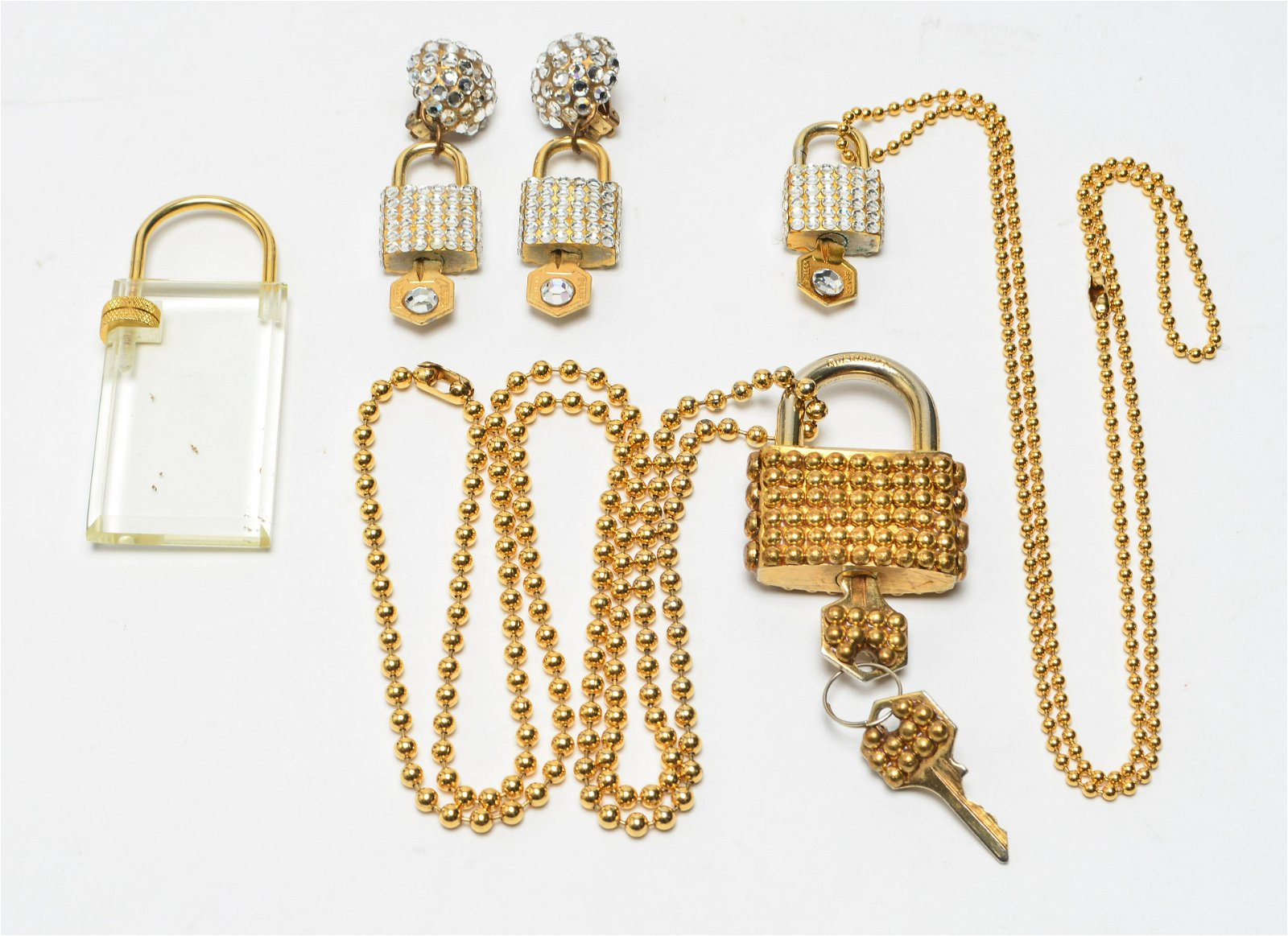 Gold-Tone Lock & Key Jewelry w Faceted Crystals, 4
