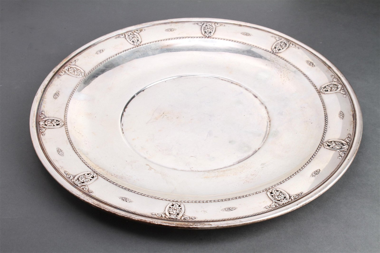 """Wallace Silver Pierced Border """"Rose Point"""" Charger"""