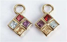 14K Gold Amethyst Citrine Topaz  Garnet Earrings