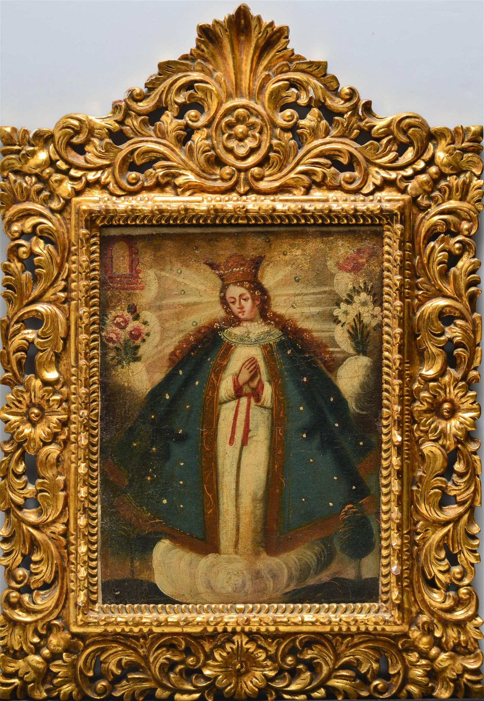 Spanish Colonial Immaculate Conception Oil 18th C.