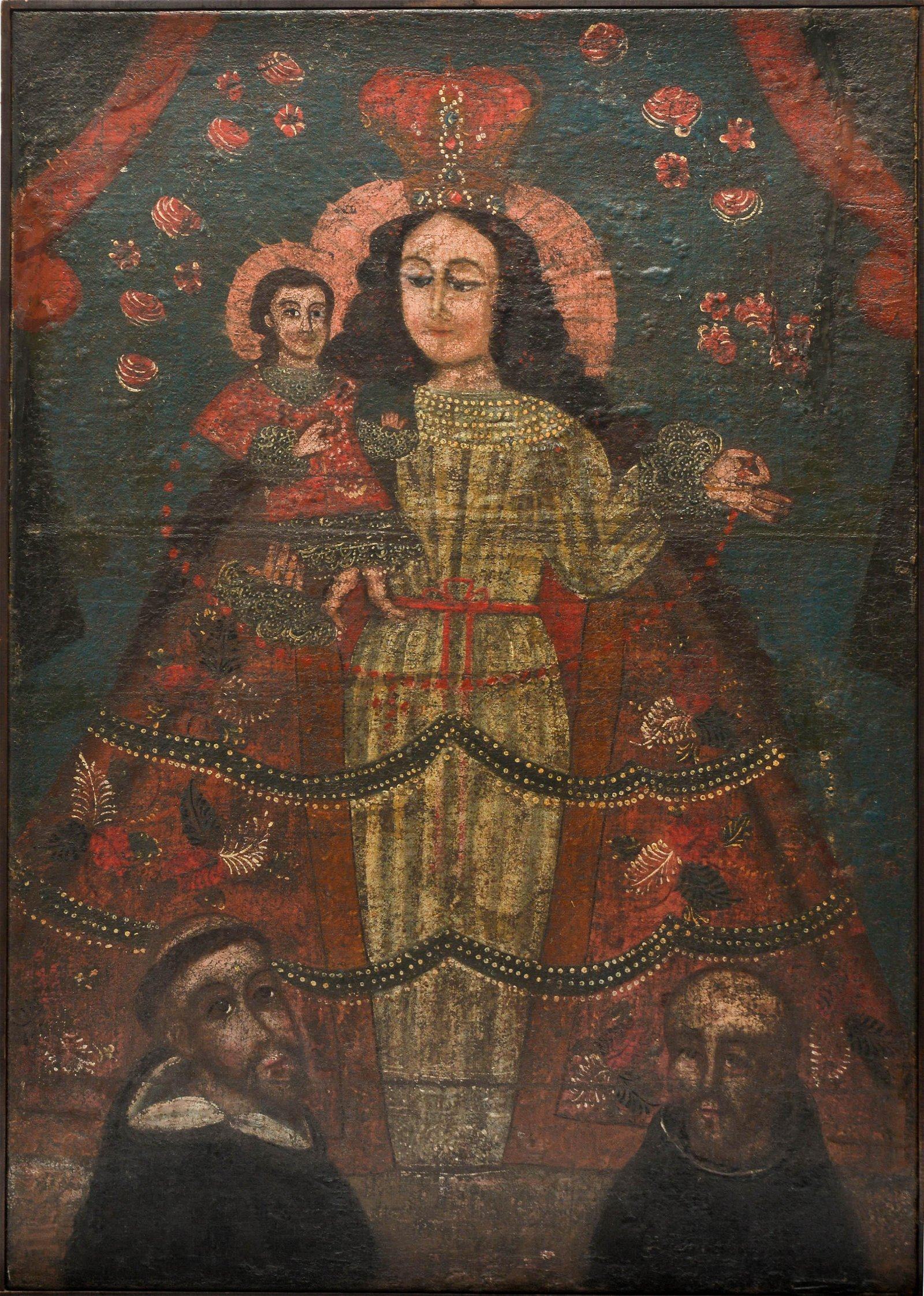 Spanish Colonial Lady of the Rosary Oil 18th C.