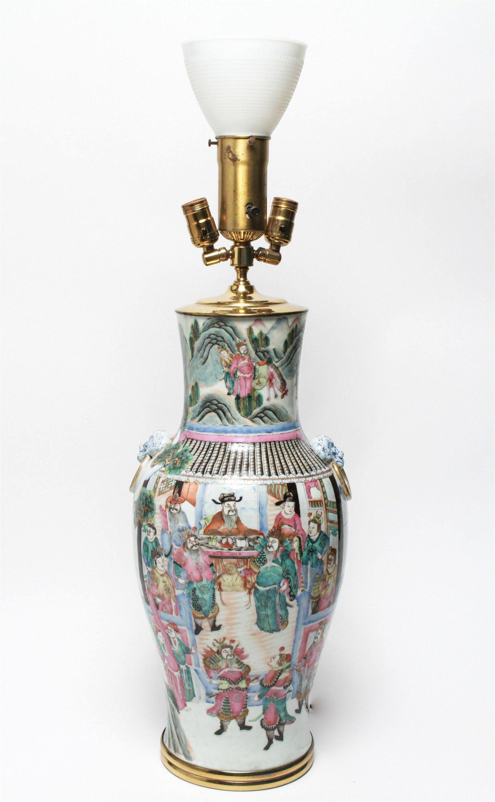 Chinese Export Polychrome Enamel Vase Lamp