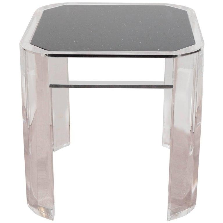 Karl Springer Style Modern Lucite Side Table