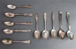 Silver Souvenir Spoons US Cities Group of 10