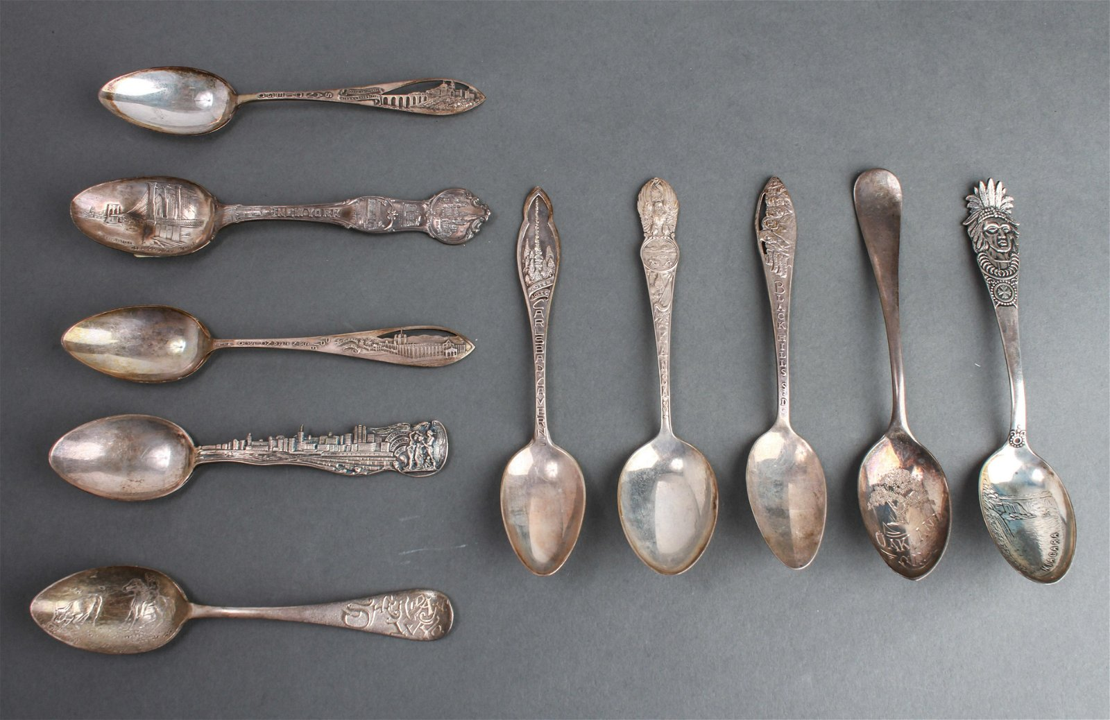Silver Souvenir Spoons U.S. Cities, Group of 10