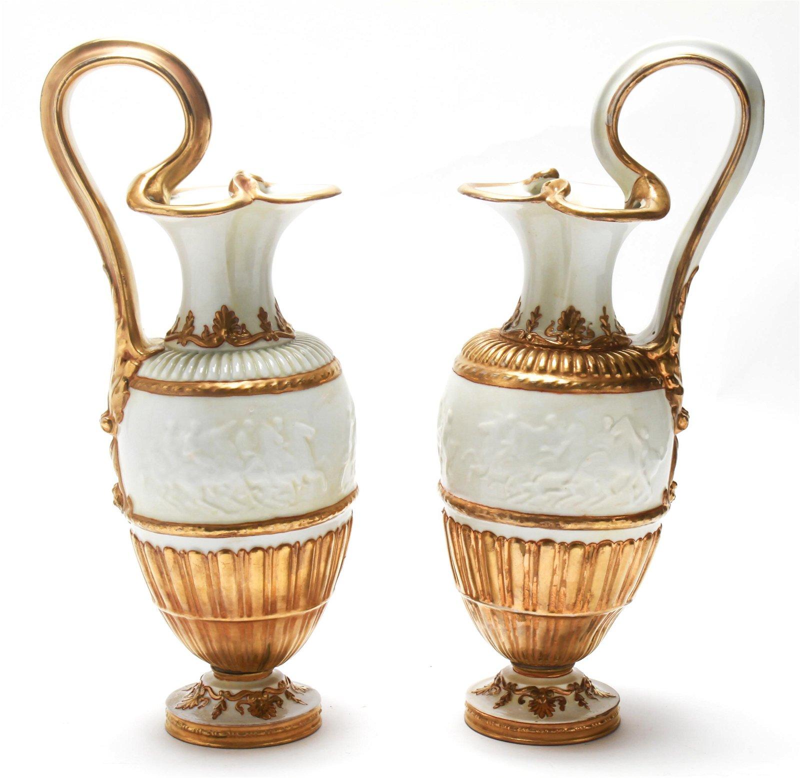Capodimonte Italian Porcelain Gilt Trim Ewers Pair