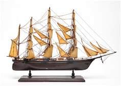 Model Sailboat Sailing Ship Wood  Canvas Sails