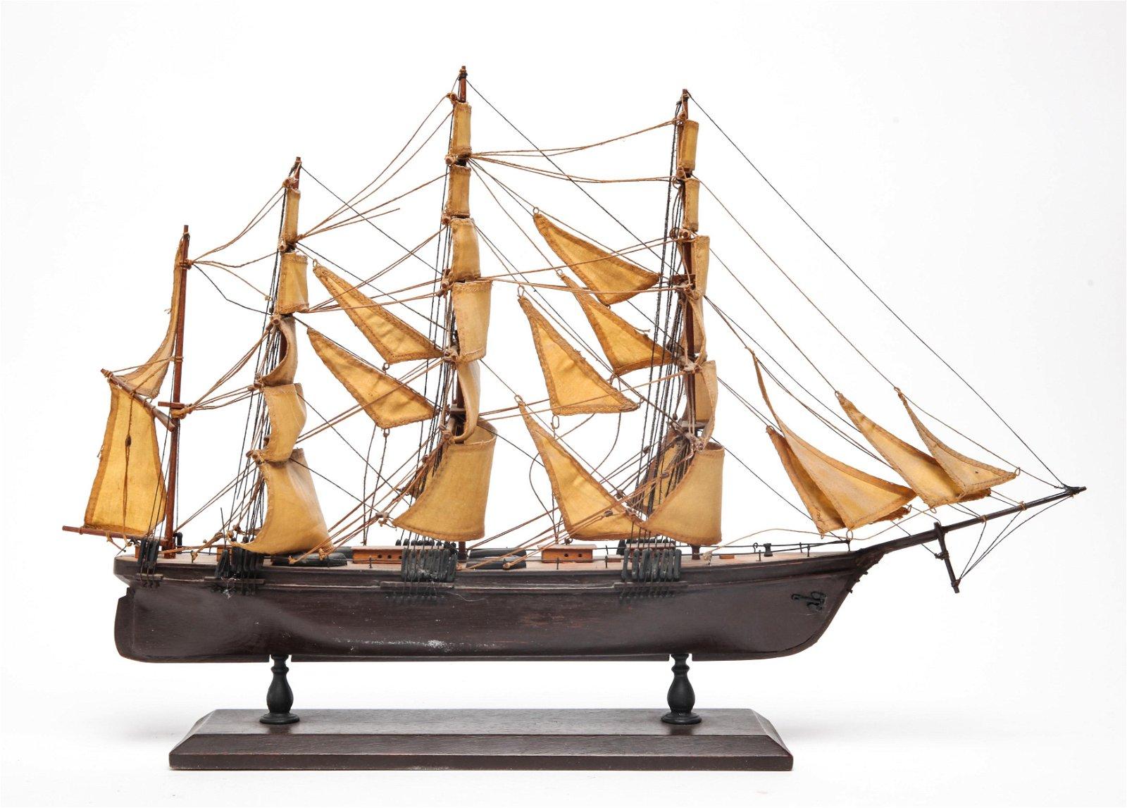 Model Sailboat Sailing Ship Wood & Canvas Sails