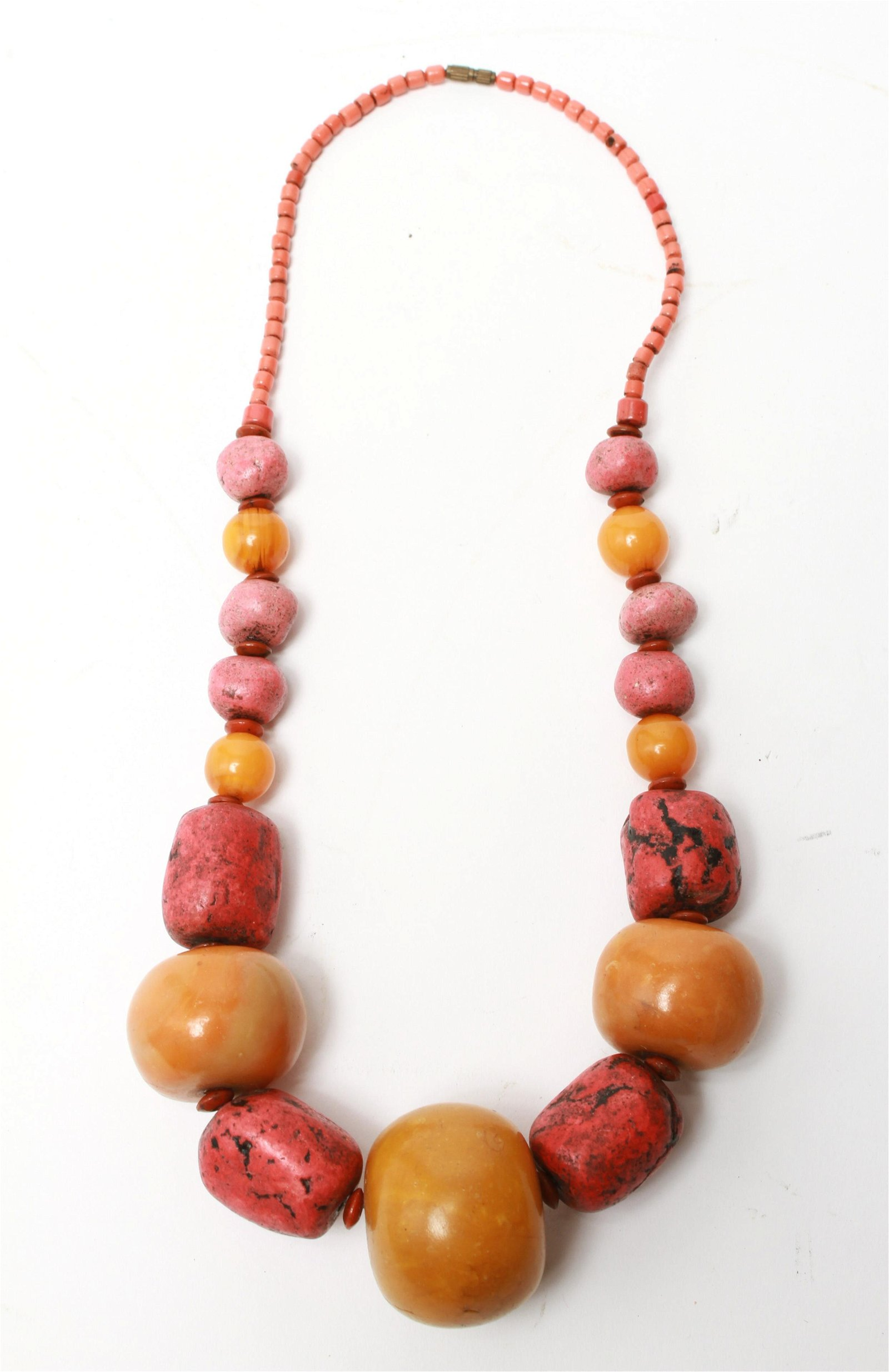 African Amber w Other Beads Necklace