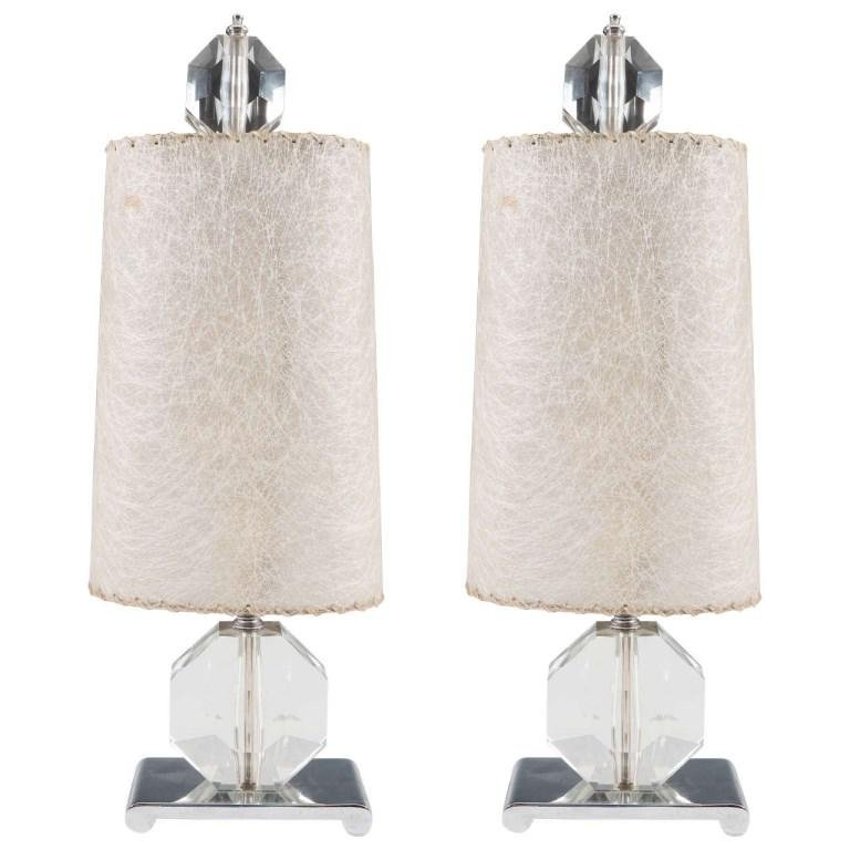 Mid-Century Modern Faceted Glass Table Lamps, Pair