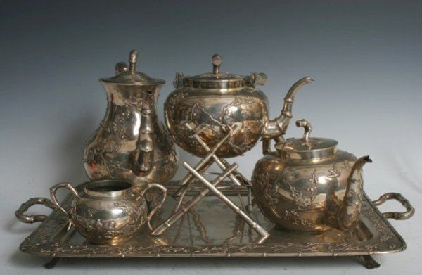 9: 19 Century Chinese Sterling Silver 5 Piece Tea Set