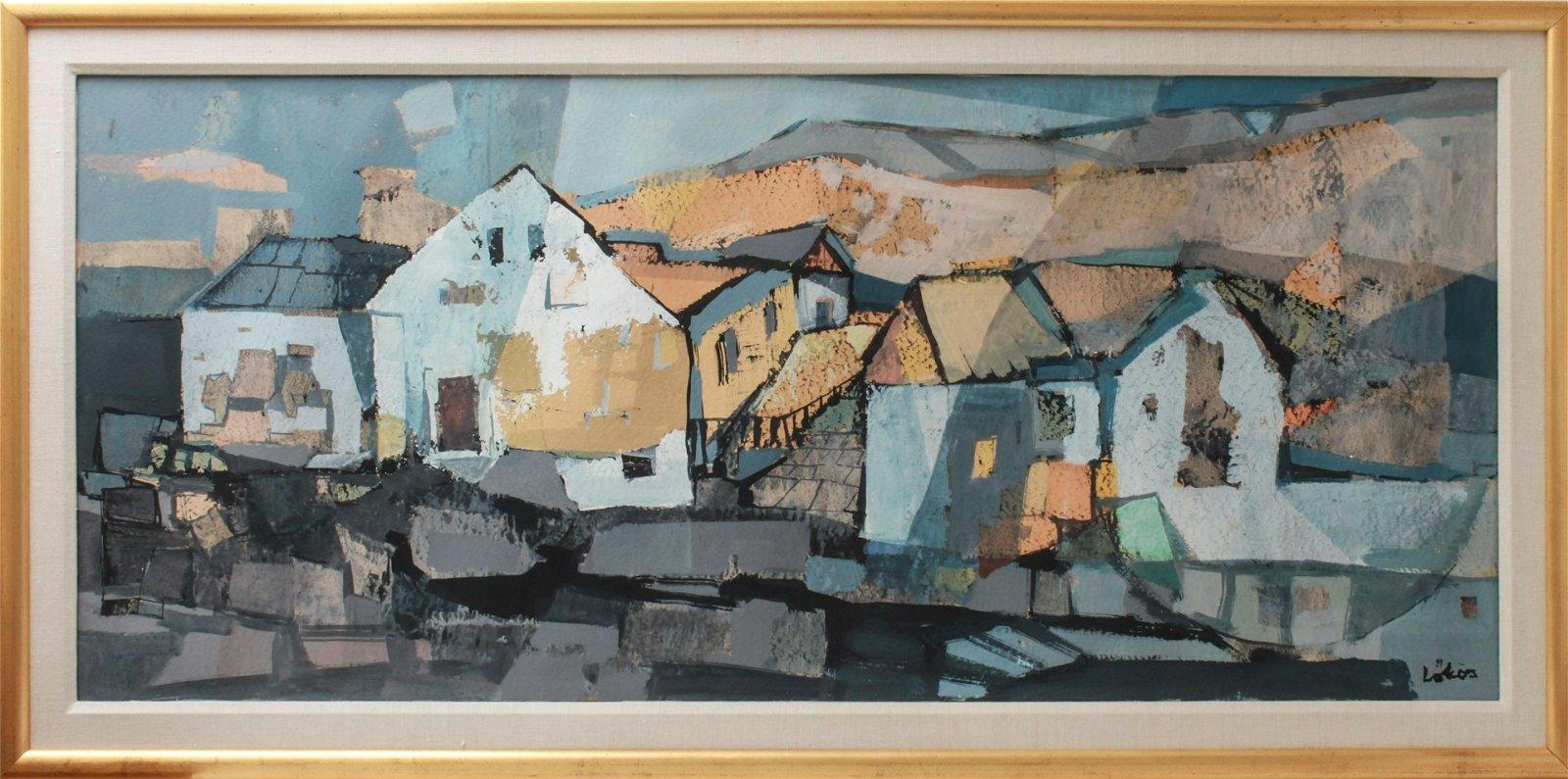 "Stefan Lokos ""Houses in the Hills"" Painting"