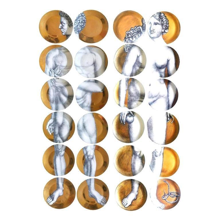 "Piero Fornasetti ""Adam and Eve"" Porcelain Plates"