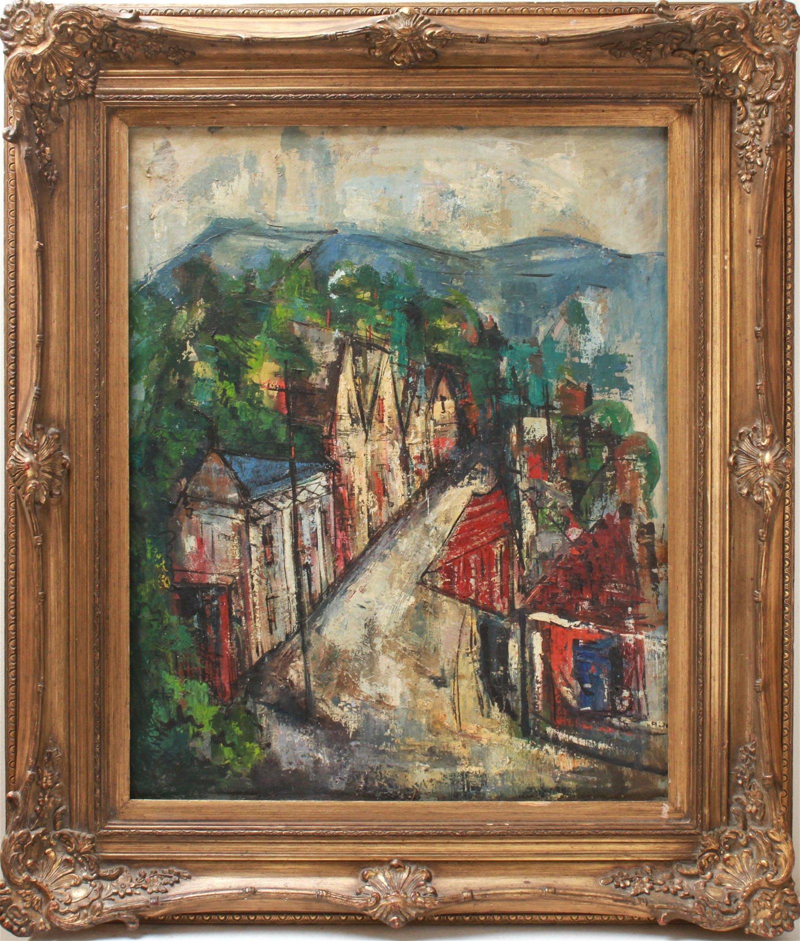 """Mid-Century """"Village Landscape"""" Oil on Canvas"""