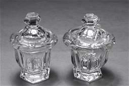 "Baccarat Crystal ""Missouri"" Condiment Jars, Two"