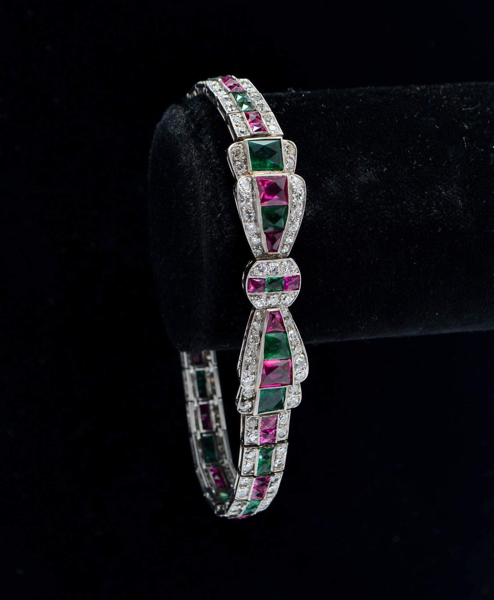 Art Deco 18K Gold Diamond Emerald & Ruby Bracelet