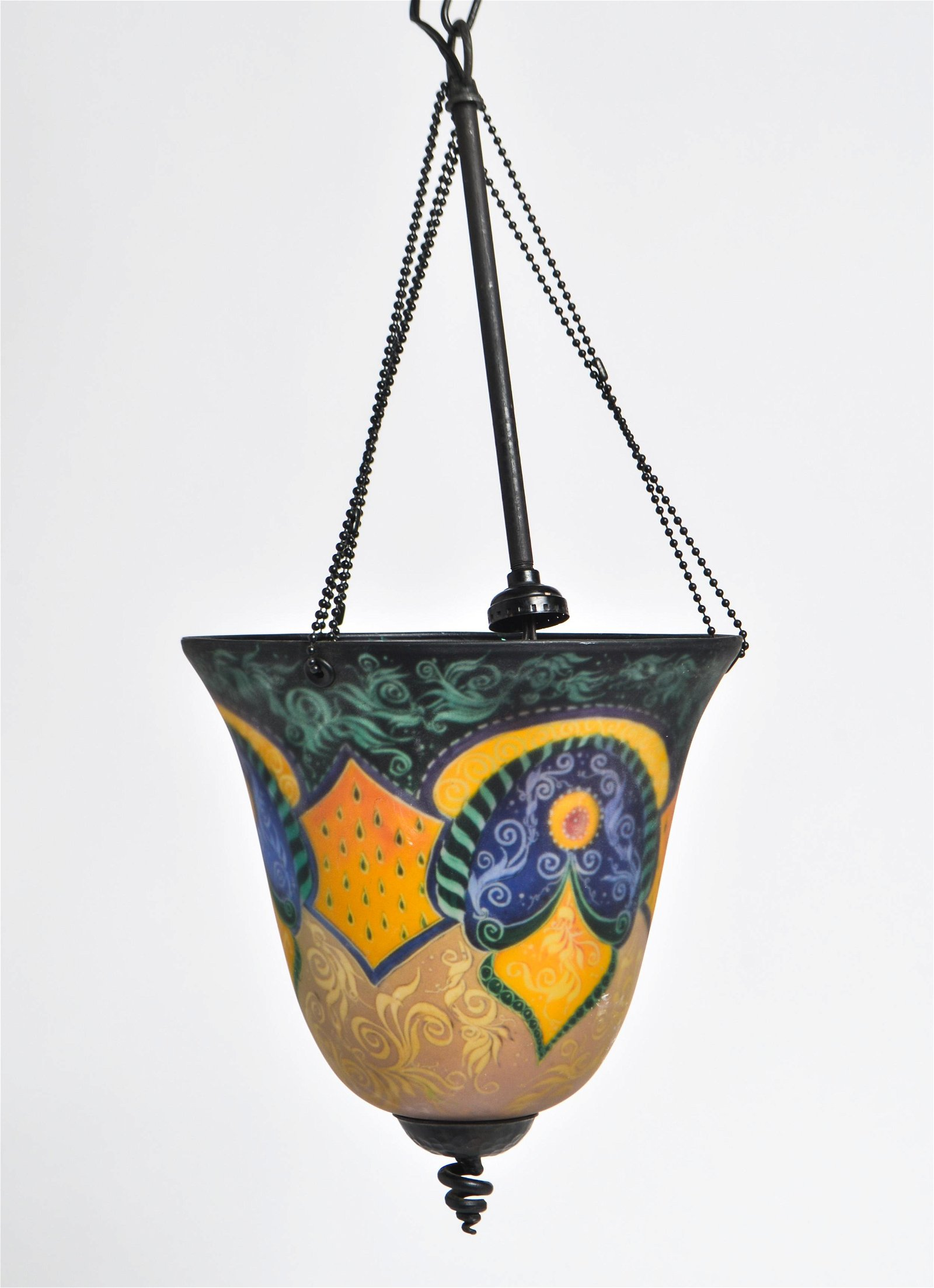 Reverse Hand-Painted Glass Pendant Light, Signed