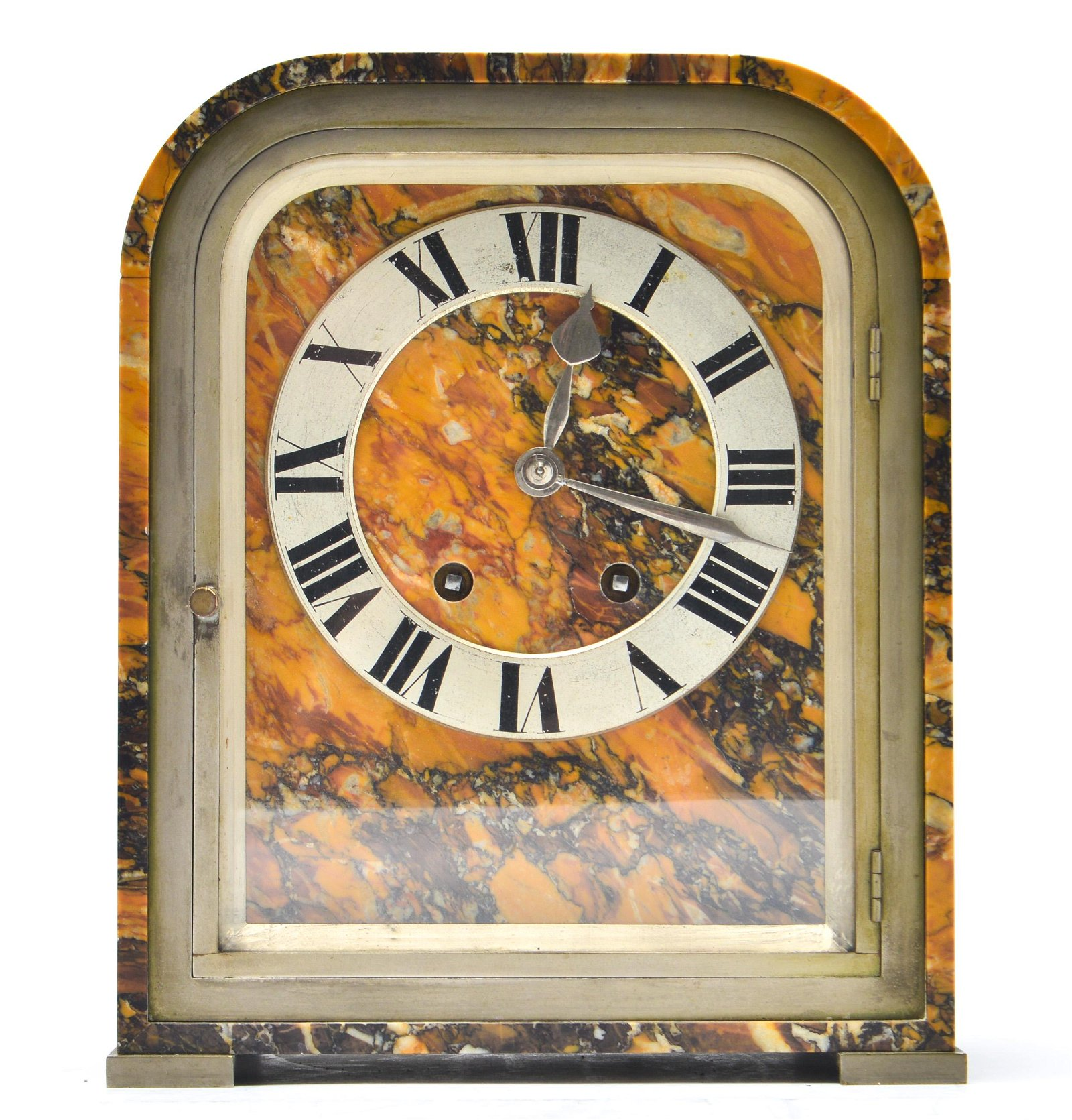 French Art Deco Marble & Bronze Mantel Clock