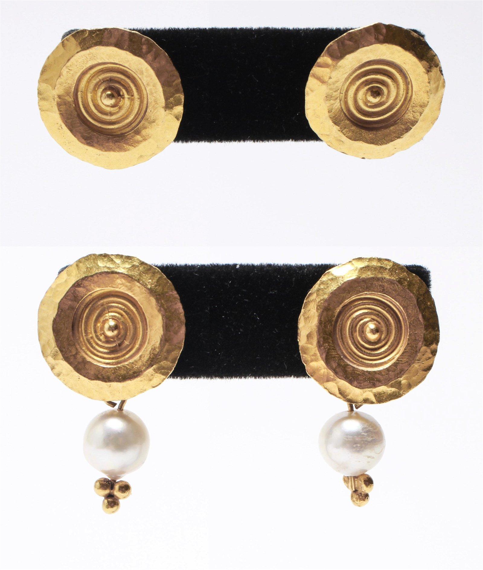 18K Gold w Detachable Dangle Pearls Earrings