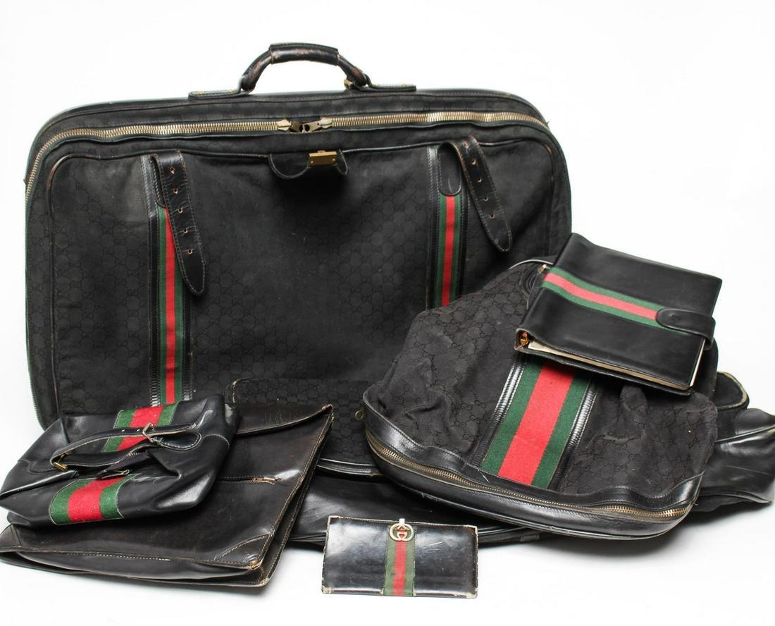 Vintage Gucci Leather & Canvas Goods, 7 Pieces