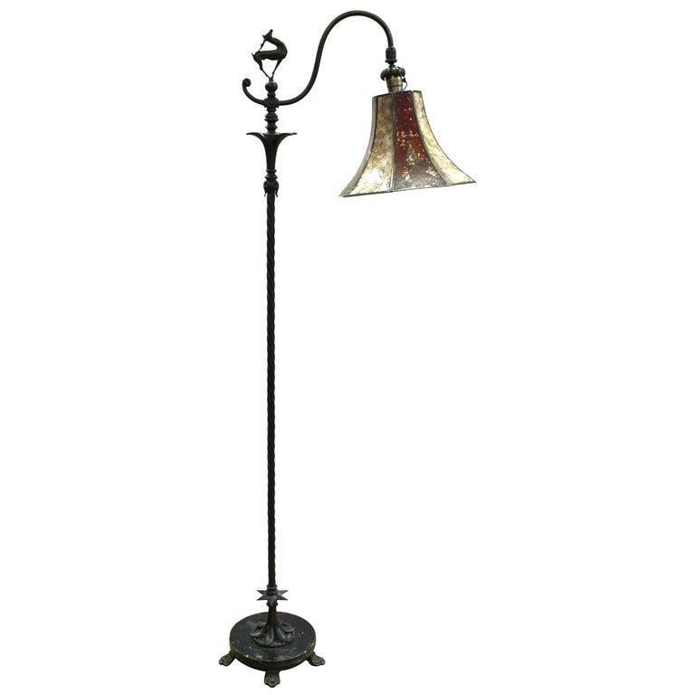 Oscar Bach Art Deco Bronze Floor Lamp w Mica Shade