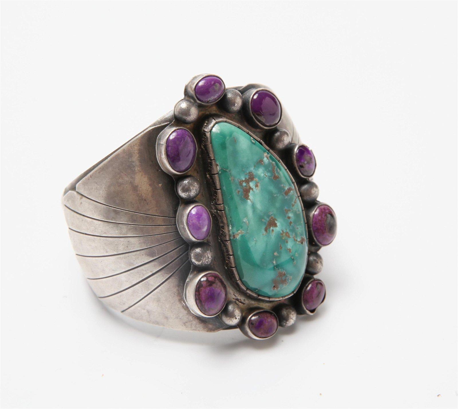Southwestern Silver Sugilite & Turquoise Cuff