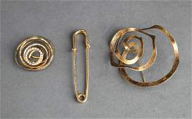 Costume Jewelry Gold-Tone & Rhinestones Group of 3