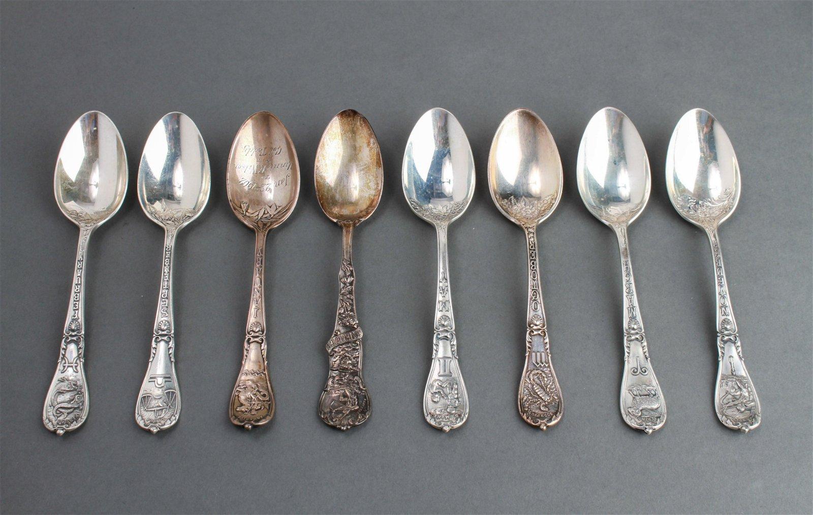 Gorham & Mechanics Co. Silver Zodiac Tea Spoons 8