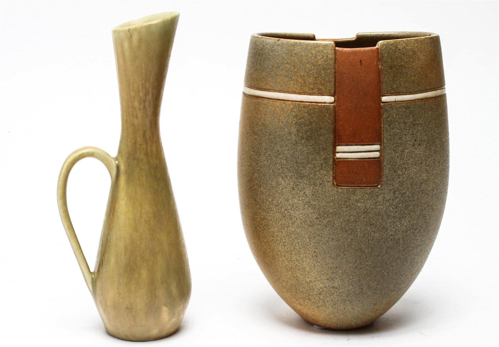Scandinavian Art Pottery Ewer & Vase, 2 Pcs