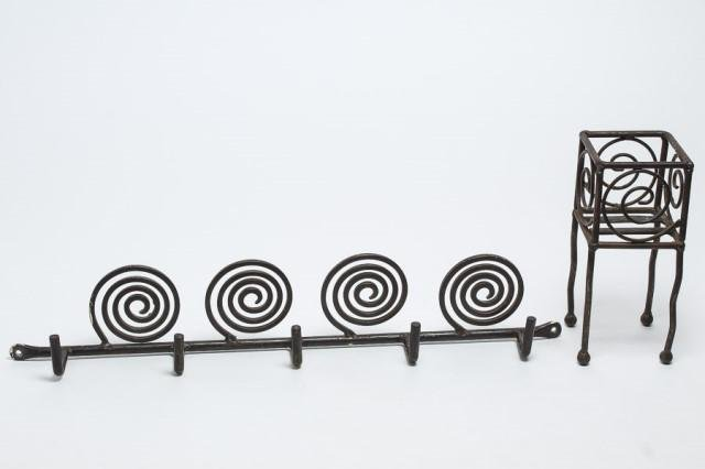 Wrought Iron Candle Holder & Hanging Rack