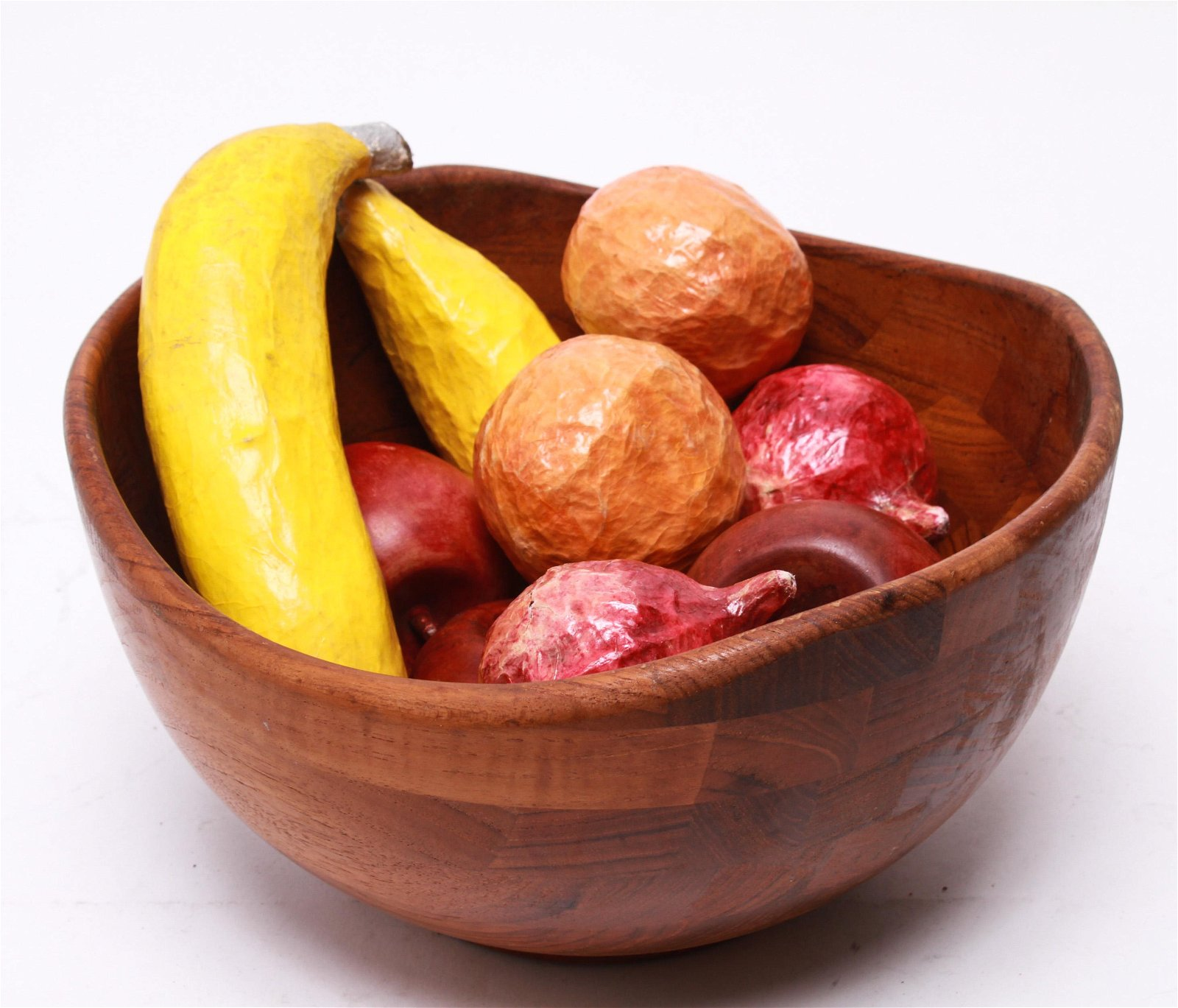 Danish Modern Hardwood Bowl With Fruits