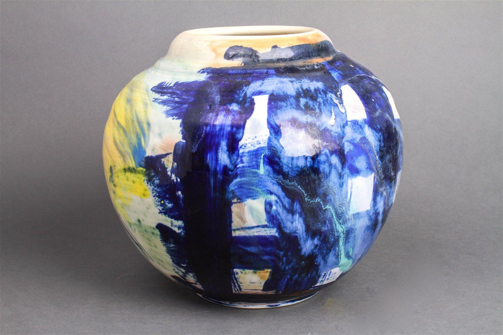 Illegibly Signed Modern Art Pottery Glazed Vase