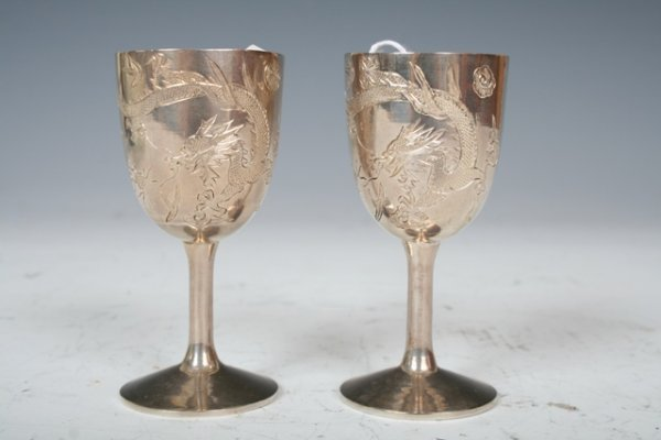 1007: 19th C Chinese Silver Export Cups