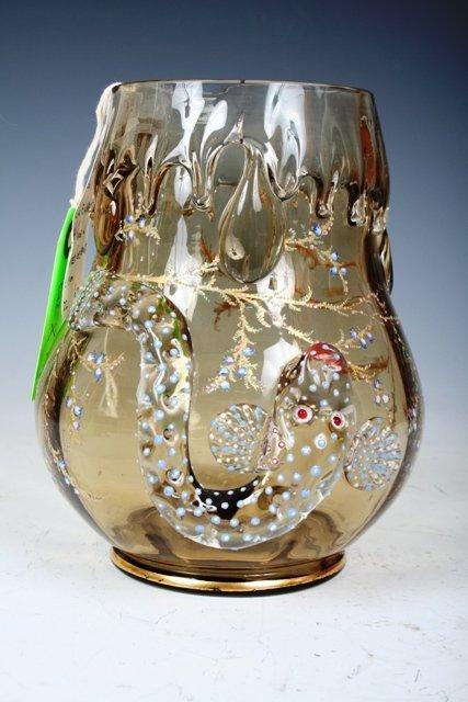 1023: Moser Enameled & Gilt Glass Vase