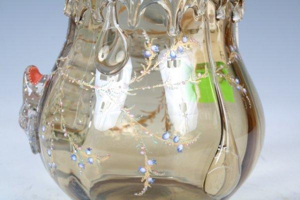 1023: Moser Enameled & Gilt Glass Vase - 5