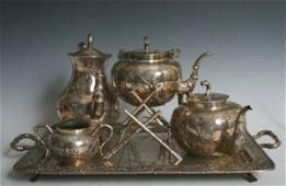 1166 19 Century Chinese Sterling Silver 5 Piece Tea S