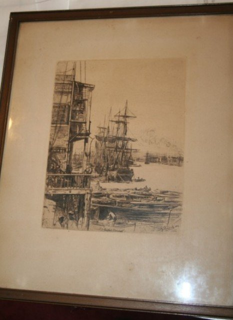 1302: 19th C. English Etching Signed c. 1882