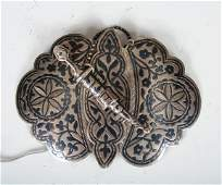 1351 Russian Silver Niello Belt Buckle