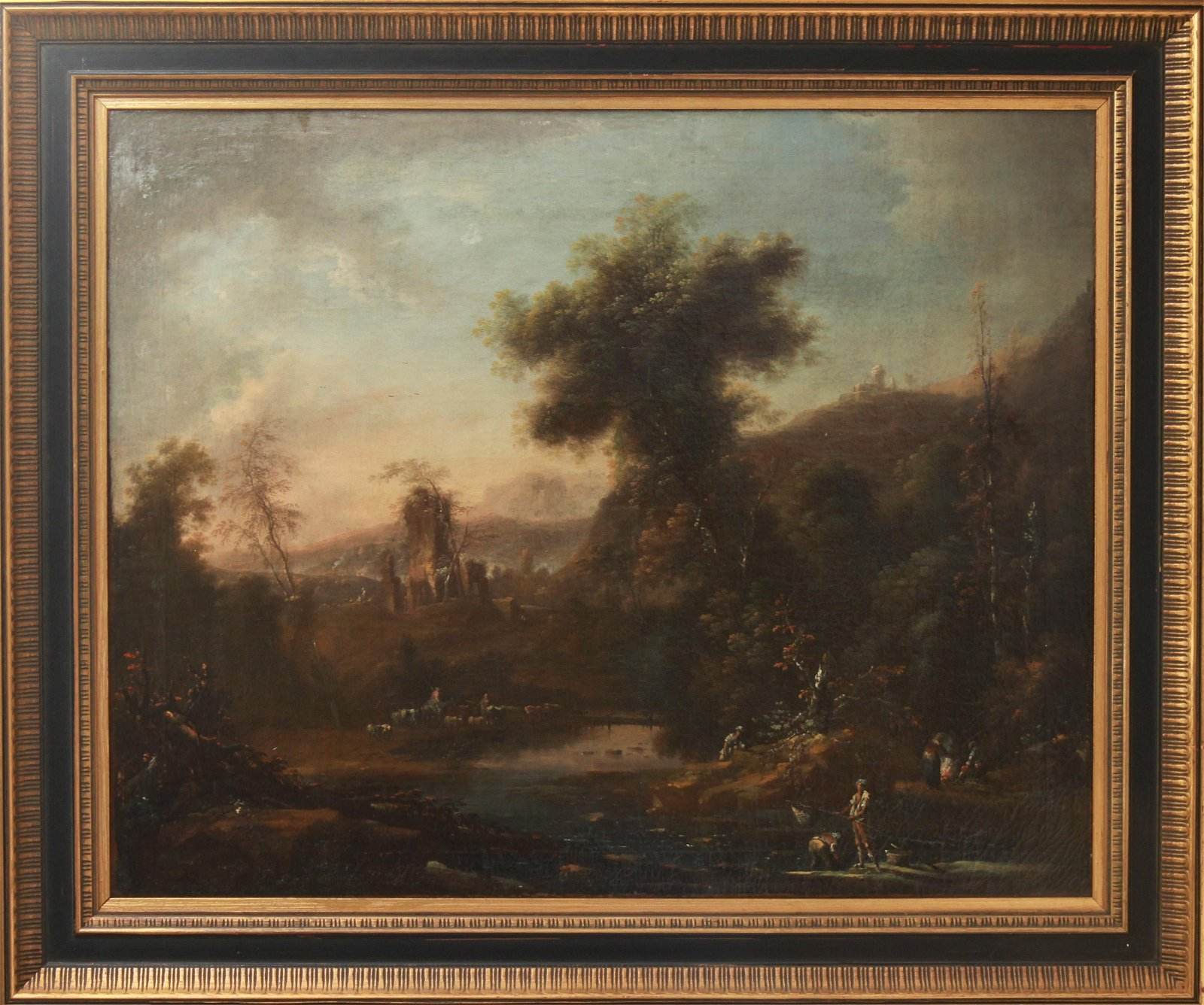 Illegibly Signed Old Master Italian Landscape Oil