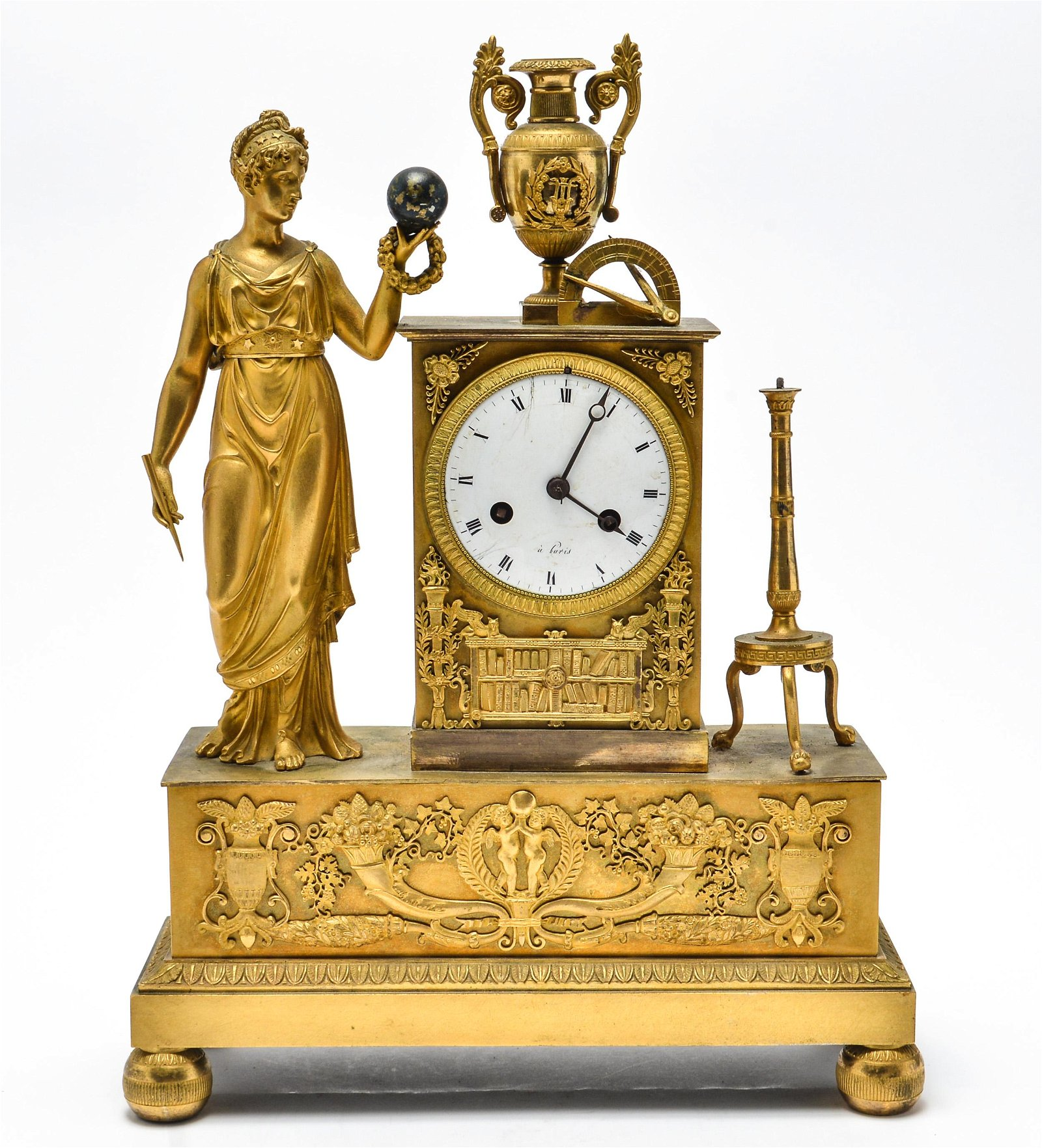 Neoclassical Gilt Bronze Figurative Mantel Clock