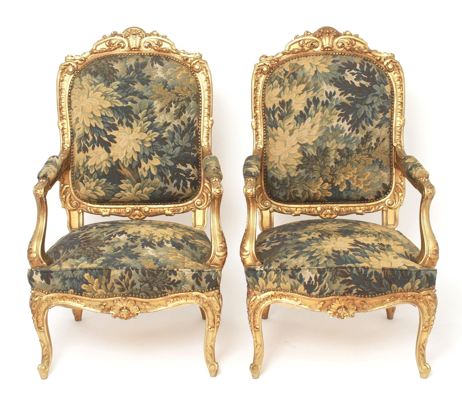 French Louis XV Style Giltwood Tapestry Chairs, 2