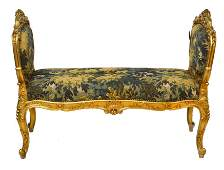 French Louis XV Style Giltwood Tapestry Bench