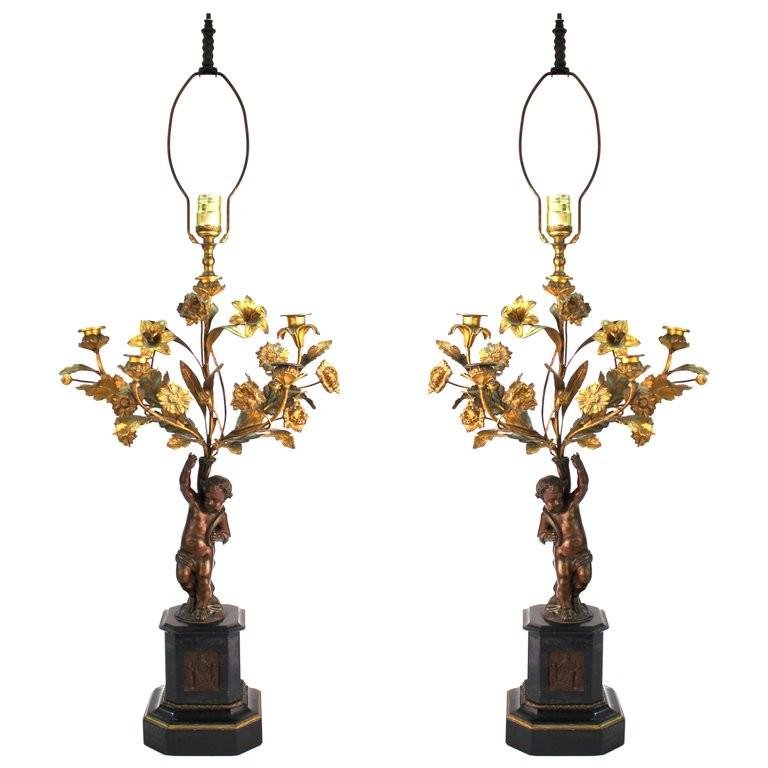French Neoclassical Revival Bronze Table Lamps, Pr