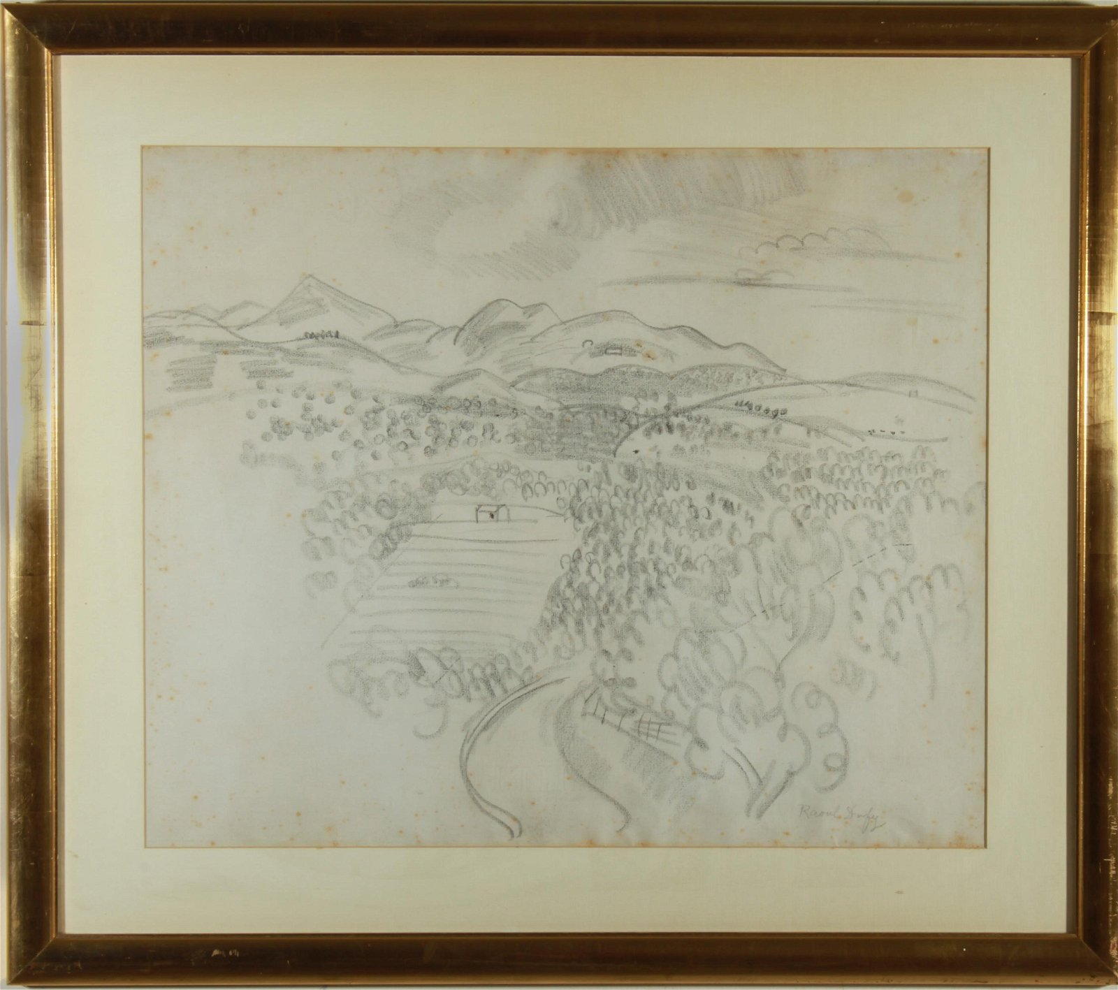 Raoul Dufy Landscape Charcoal on Paper Drawing