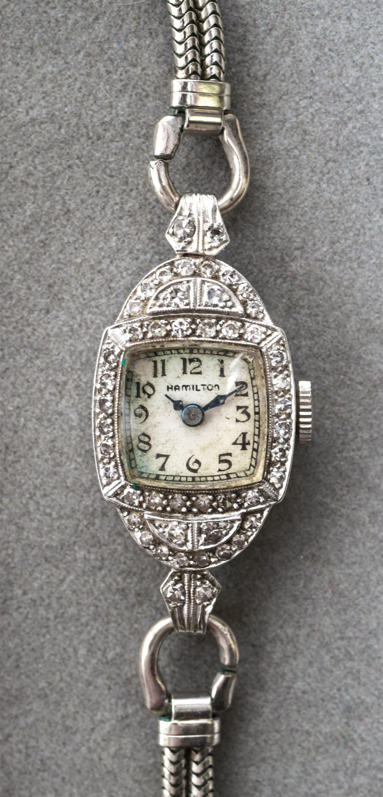 "Art Deco Platinum Diamond ""Hamilton"" Lady's Watch"