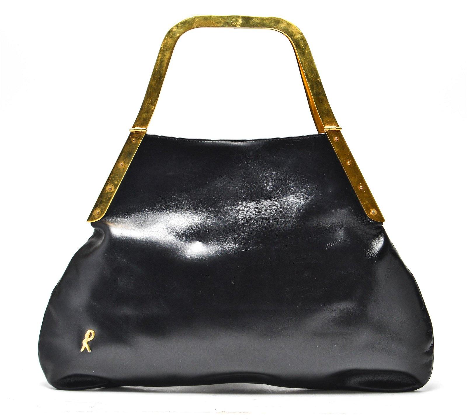 Roberta di Camerino Black Leather & Gold-Tone Bag