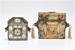 Koran Mixed Metal Boxes Bone, Coral & Turquoise Pr