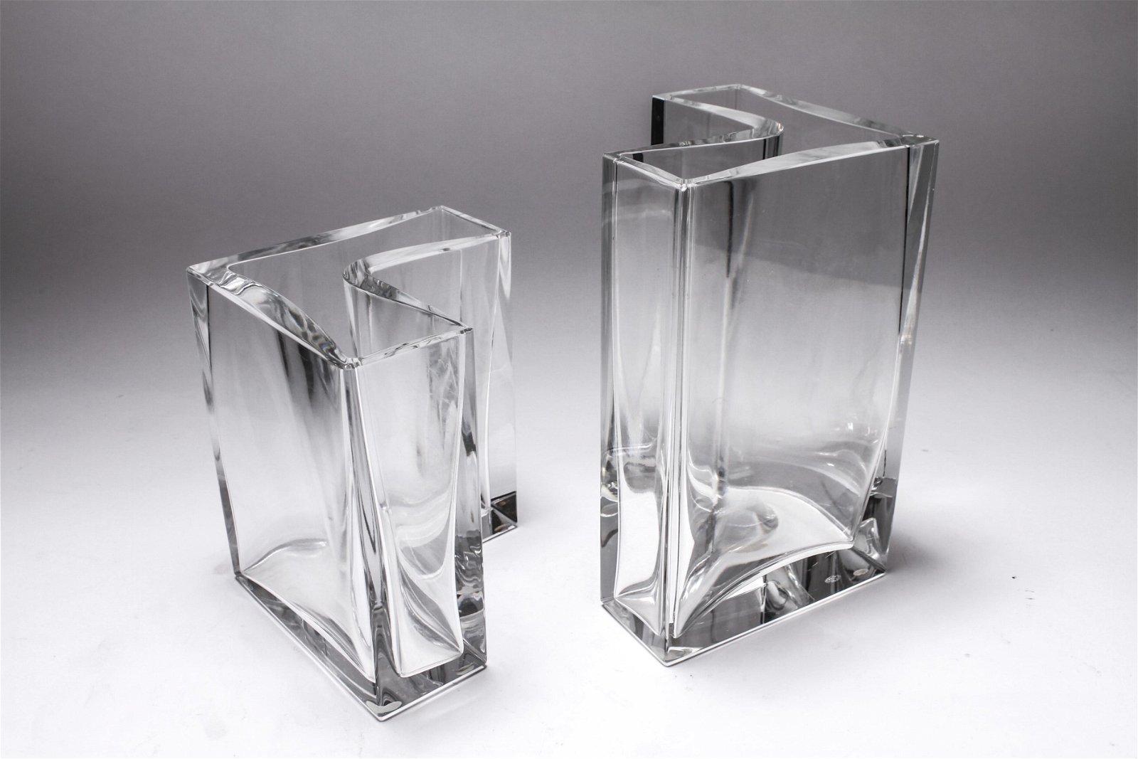 Baccarat Crystal Modern Vases, Pair