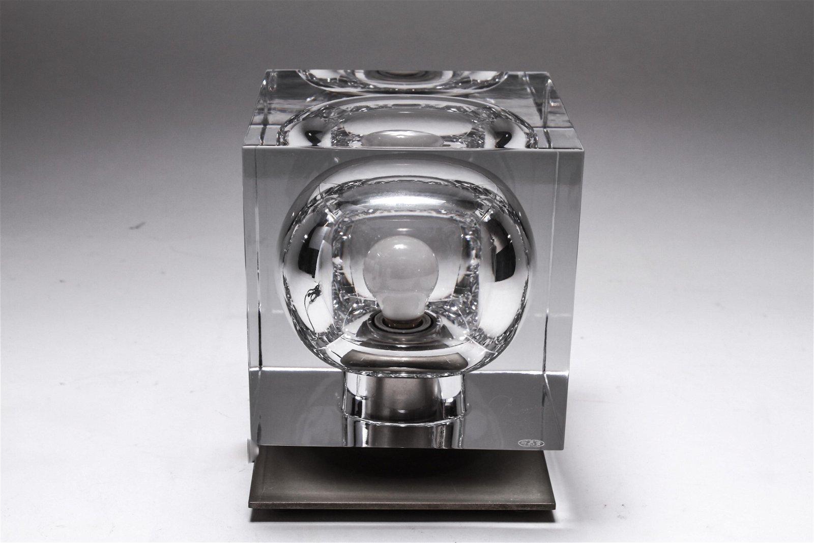 Robert Rigot for Baccarat Crystal Cube Lamp