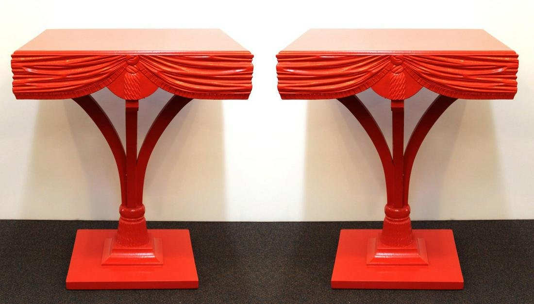 Red Side Tables with Sculpted Wood Drapery, Pair